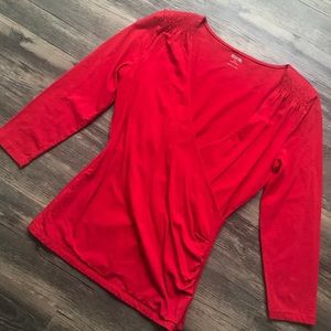 {S} Michael Kors Red Ruched 3/4 Sleeve Blouse